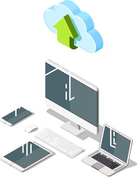 Cloud migration solutions represented by devices connected to the cloud