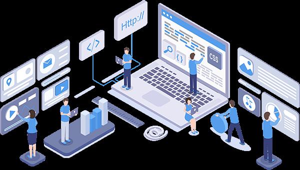 Bespoke development solutions illustration, representing the Influential software development team team building an application.