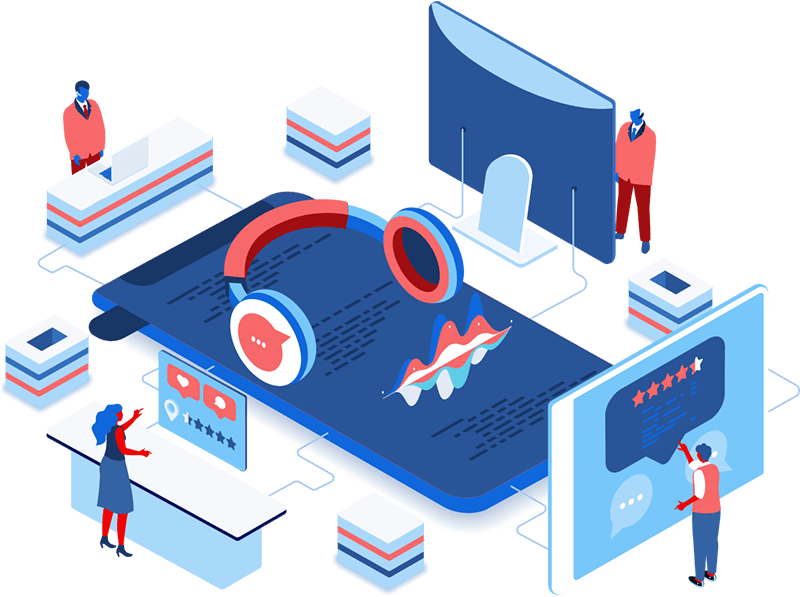 Proactive Customer Support - illustration representing Influential Softwares expert IT support services team, listening and responding to our clients