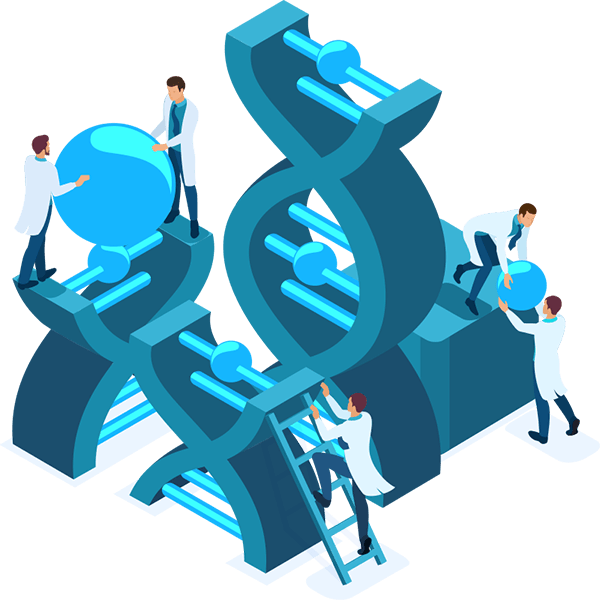 Continuous DevOps Evolution - illustration of scientists and engineers working on the evolution of DNA, representing Influentials approach to our ever-evolving DevOps