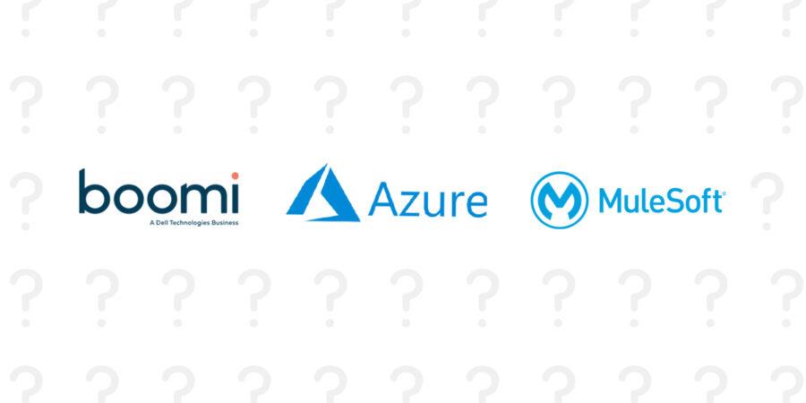 Graphic for iPaaS comparison of Boomi vs MuleSoft vs Azure