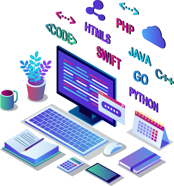 Graphic showing computer with code representing Influential Software's API management services.