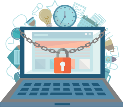 Graphic showing laptop with padlock representing the security features of Influential Software's API management services.