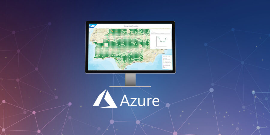 Azure logo with SAP HANA dashboard, representing SAP HANA integration with Azure Logic Apps