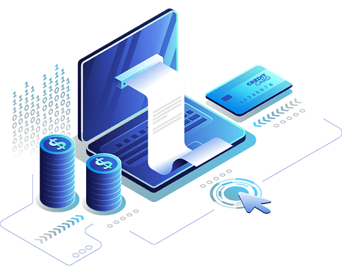 Digital commerce graphic representing credit card API integration