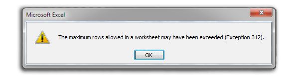 An error message demonstrating the NHS Test and Trace Excel error