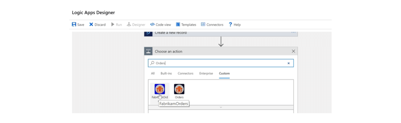 Selecting an Azure custom connector