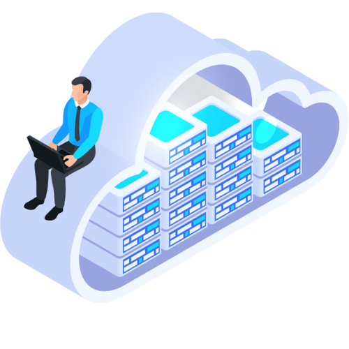 Business man using cloud technology representing intranet portal solutions