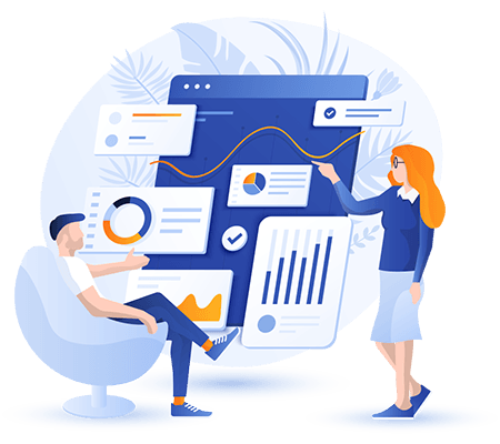 Business portal development by Influential Software - illustration representing business people using a custom portal solution