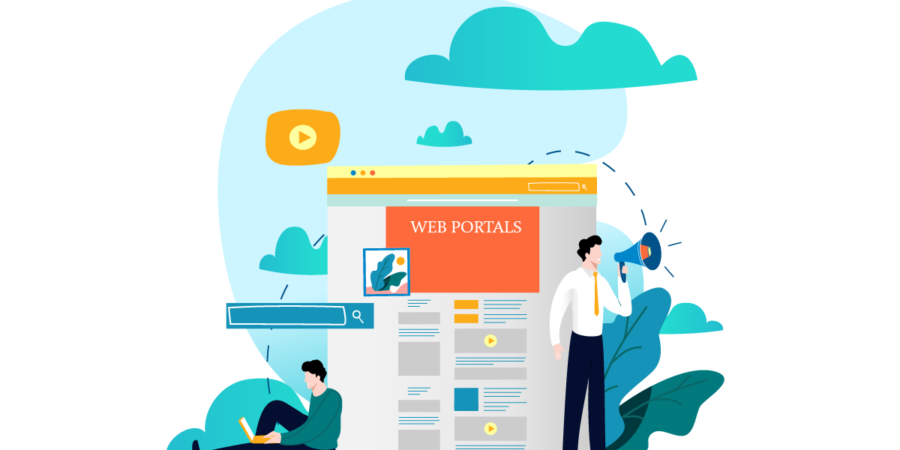 Businesspeople working on different web portal types