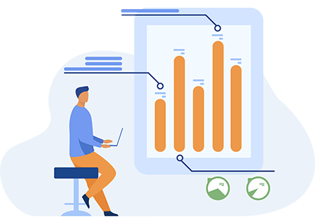 Business person using data visualisations created with web portal development