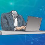 Headless man at desk representing headless CMS advantages for business websites
