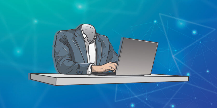 Headless man at desk representing headless CMS advantages for business websites