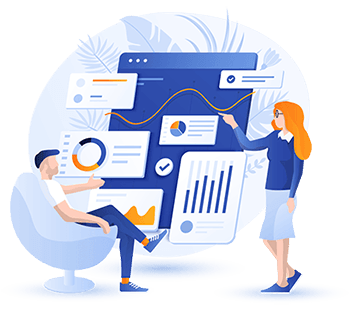 Business people using a bespoke business intelligence portal