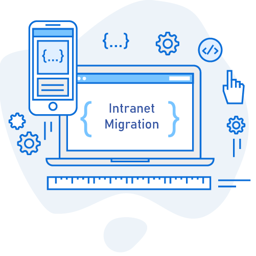 A graphic of a computer that says intranet migration