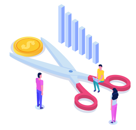 A graphic of money and scissors, representing how our cms solutions cut costs