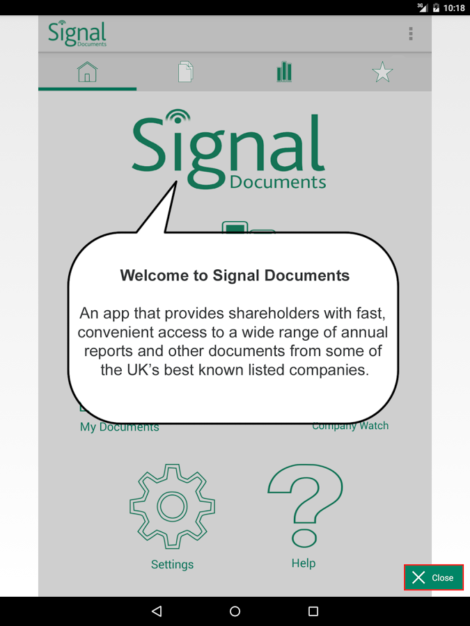 Signal Documents Application Welcome Screen