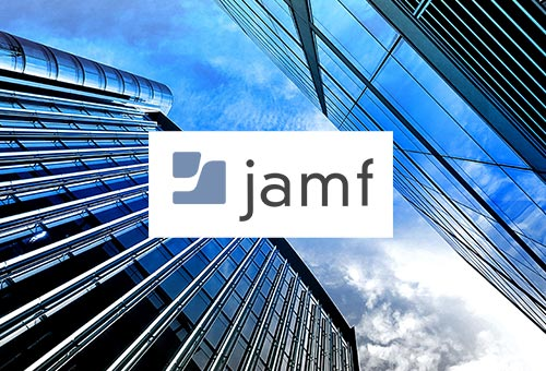 Jamf logo on financial buildings representing companies using Jamf