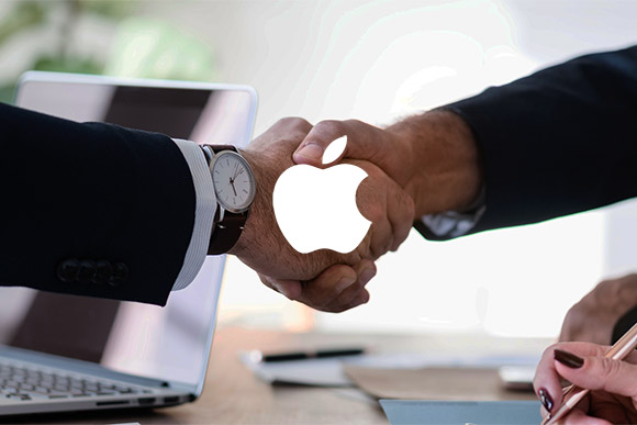 amsys recruitment represented by handshake under apple logo