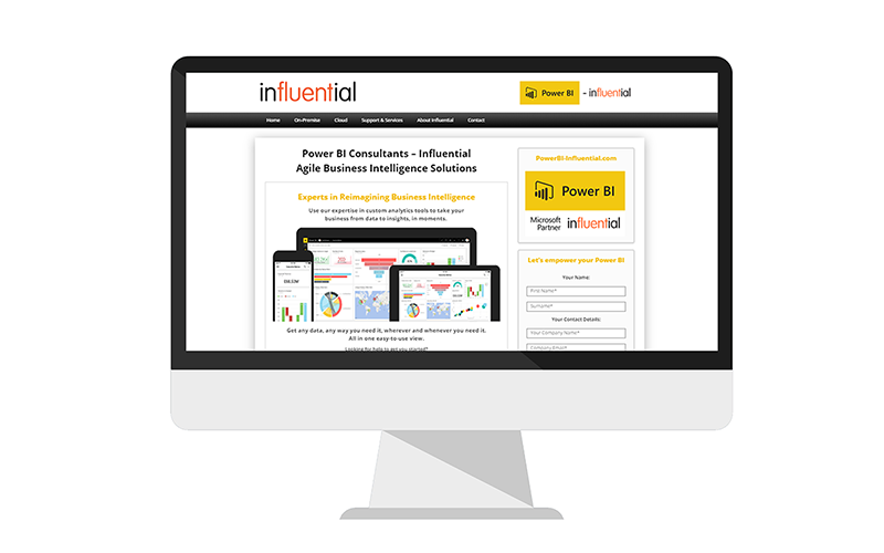 Power BI Influential | Power BI Services Website - Business Intelligence Consultancy, Services and Support - Site screenshot on monitor