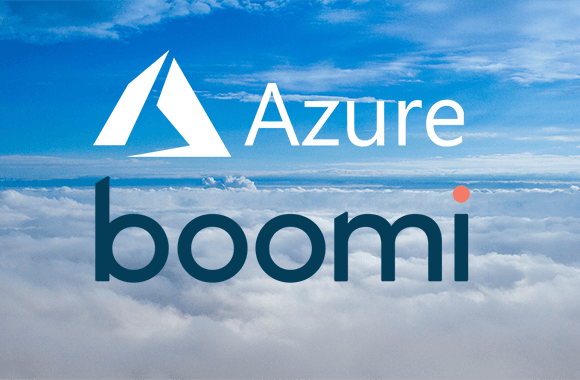 Top 5 reasons for Dell Boomi Azure integration, represented by Azure and Boomi logos above the clouds